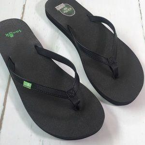 Sanuk Yoga Mat Black Flip Flop